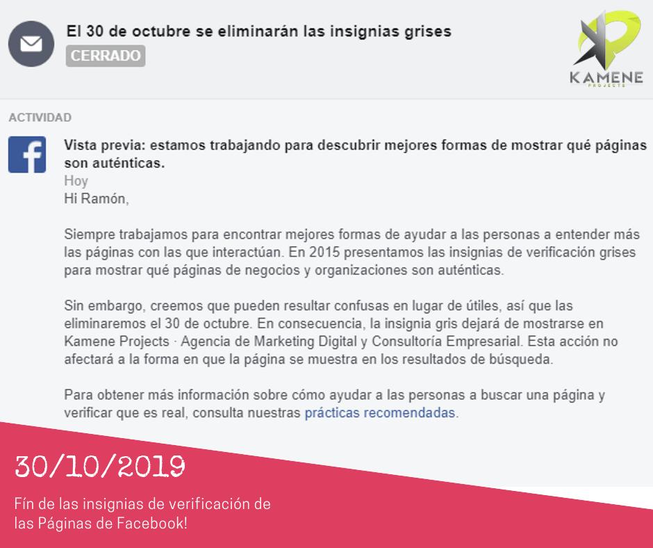 eliminacion de las insignias de verificacion en paginas de facebook redes sociales agencia marketing digital online kamene projects alicante portada 1