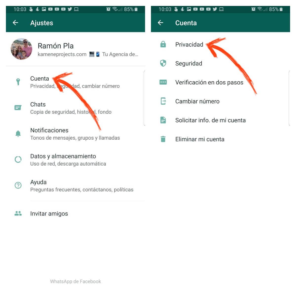 como activar el bloqueo con huella dactilar de whatsapp ajustes cuenta