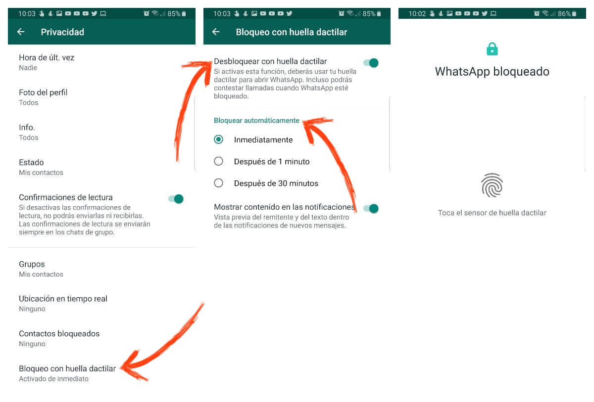 como activar el bloqueo con huella dactilar de whatsapp ajustes privacidad